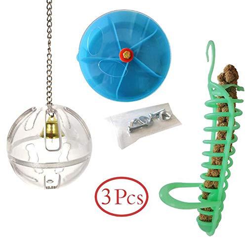 LCM Haustiervogelspielzeug, Lebensmittelbox, Food Ball, Foraging, Papageienfutter, Fütterung, Papageienspielzeug, Set of 3