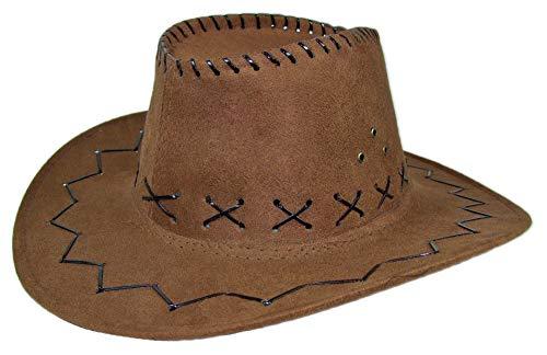 Kinder Cowboyhut mit Ziernähten - Braun -Toller Westernhut zum Kostüm