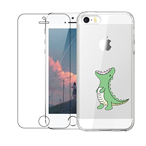 iPhone 5 / 5S / SE Hülle mit Hartglas Displayschutz, Blossom01 Cute Funny Kreative Cartoon Transparent Silikon Bumper für iPhone 5 / 5S / SE - Grünes Krokodil