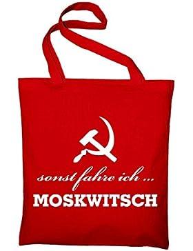 sonst fahre ich Moskwitsch AZLK Logo Jutebeutel, Beutel, Stoffbeutel, Baumwolltasche