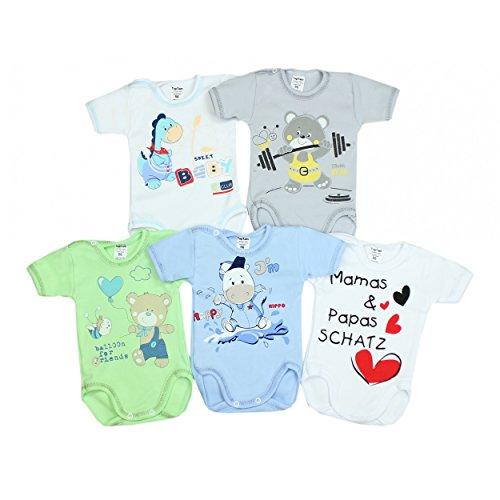 TupTam Unisex Baby Kurzarm-Body mit Aufdruck Spruch 5er Set, Farbe: Junge 2, Größe: 98