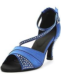 Mujer Latino Salón Satén Sandalia Cristal Tacón Personalizado Azul Morado