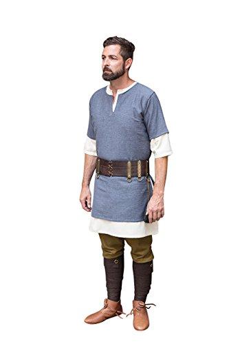 Túnica medieval hombre manga corta gris algodón, hombre, gris, XL