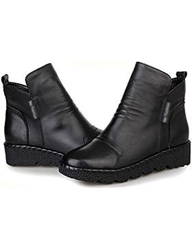 MEILI-Dongkuan pelle scarpe stivali piatti stivali Martin e stivali nudo crosta spessa , 37 , black