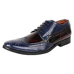 Lujo Entreaty handmade Brogue Shoes - Blue/Maroon