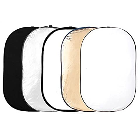 Phot-R 150x200cm Pro 5-in-1 5in1 Collapsible Professional Photography Portable Photo Studio Circular Light Reflector Panels - Gold, Silver, Black, White & Translucent Diffuser + Carry Case