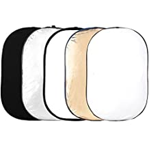 """Phot-R PRO 150x200cm (60""""x80"""") Studio Réflecteur de Lumière 5 en 1 Or, Argent, Noir, Blanc, et Translucide"""
