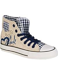 6659b5bc7281e2 Krüger Madl Damen Trachten Sneaker im Chucks Look blau  MADL mit Herz
