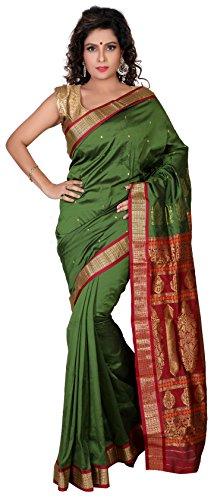 ARUNAFASHIONS Raw Silk Saree With Blouse Piece (Dark Olive Green_Free Size)