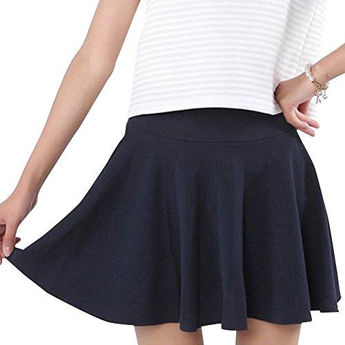 saideng-mujer-elastico-de-cintura-alta-plisado-doble-capa-de-minifalda-azul-marino