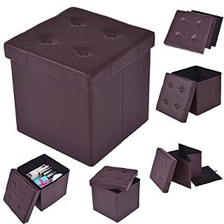 FDS COSTWAY Sitzhocker faltbar Sitzbox Aufbewahrungsbox Sitzwürfel Hocker Truhe Kunstleder Farbwahl 38 * 38 * 38cm (Braun)