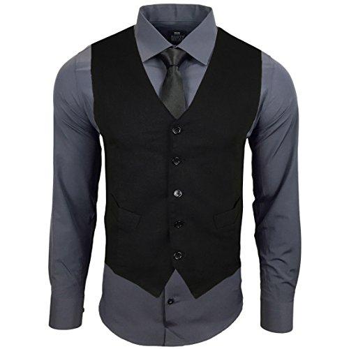 RUSTY NEAL Herren Anzug Hemd Weste Krawatte Party Hochzeit Anzugsweste Sakko NEU, Farbe:Anthrazit/Schwarz;Größe:L