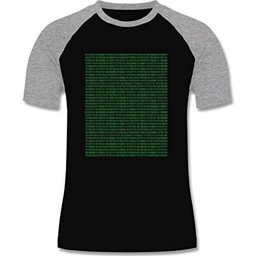 Shirtracer Programmierer - Binärcode - Herren Baseball Shirt Schwarz/Grau  Meliert