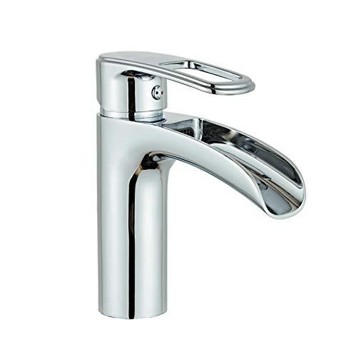 Leekayer Cascata Rubinetto miscelatore monoleva Elegant per lavabo Argento Ottone Rubinetti per lavandini bagno