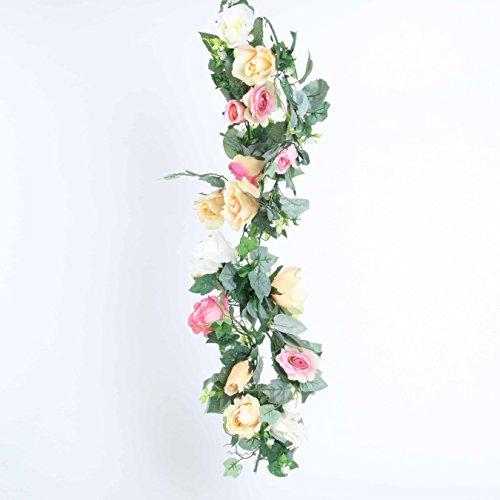 Hochzeitsdeko, Kunstblume, Rosengirlande, Multicolor, L: 200 cm | knuellermarkt.de | Rosenranke,...