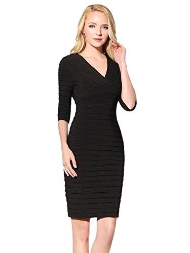Bbonlinedress Robe d'affaires gaine d'affaires style formel tunique moulante bureau robe de soirée automne rétro col en V-Noir