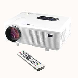 Excelvan LED Projecteur Vidéo HD Résolution 1280x800 1080P Vidéoprojecteur Home Cinéma - HDMI VGA/ USB/ AV /Digital TV 2000:1 - Blanc
