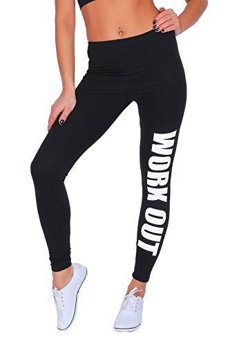 FUTURO FASHION Work Out Printed Full Length Cotton Active Leggings Joggers Gym Fitness Black 8 UK (S)