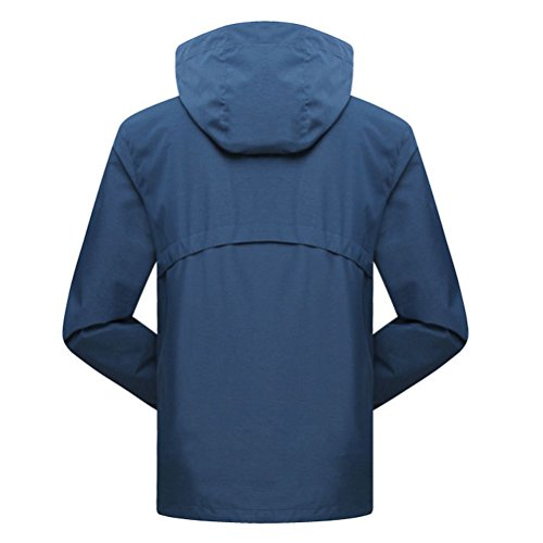Zhhlaixing Fashion Mens Solid color Sports Casual Jacket Outdoor Hooded Quick-dry Outwear Lake Blue