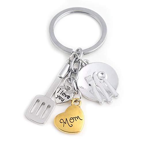 JMZDAW Halskette Anhänger Kreative Office Besteck Stil Halskette, Eine Kaffeemaschine Und Einen Kleinen Buchstaben Eingraviert Männer Metall Halskette Anhänger, C