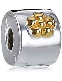 Materia de oro con cuentas tope clip Flor Element -{925} diseño con cuentas de plata clip 14 K chapado en oro para abalorios pulseras con rosca #29