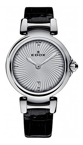 Edox Women's Analog Swiss-Quartz Watch with Leather Calfskin Strap 57002 3C AIN