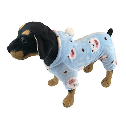 QDOUPET Hunde-Pyjama aus Flanell, mit Vier Beinen, Kapuze für Kleine Hunde (In Halloween-kostüme Bichons)