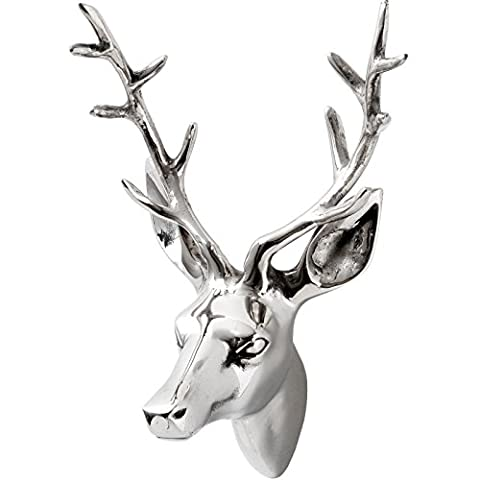 Small Silver Metal Chrome Stags Deer Animal Head Wall Bust