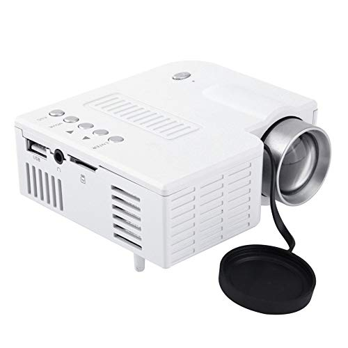 TEQIN Projector,Mini Portable LED Projector 1080P Multimedia Home Cinema Theater LED Beamer Projector for Home Use White UK Plug