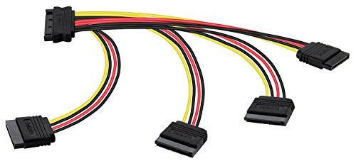 Poppstar 1x 20cm SATA Stromkabel Adapter (vierfach) (1x Stecker (m) auf 4X Buchse (w)), Stromadapter für HDD, SSD, Festplatte, Motherboard, PC Case Modding UVM. - Alle Komponenten 200 Pin