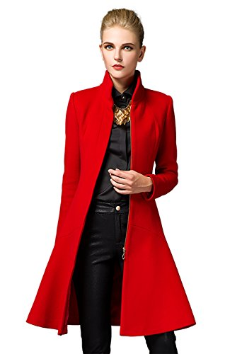 Damen Mantel Wool Coat Stehkragen Einreiher Mantel Lange Wollmantel (Large, Rot)