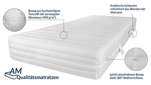AM Qualitätsmatratzen Hochwertige 7-Zonen Taschenfederkernmatratze 90x200cm - 24 cm Premiumhöhe - Tonnentaschenfederkernmatratze 90x200 cm - H3