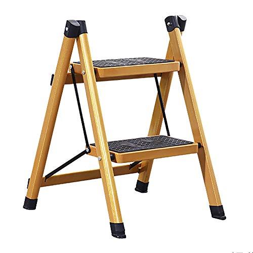 NYDZDM Ladder Home Folding Schritt Hocker-Zwei-Schritt- / DREI-Stufen-Leiter, Rutschfeste Pedalleiter, isolierte Leiter, Faltbare Portable Gold (größe : 2 Step Ladder) -