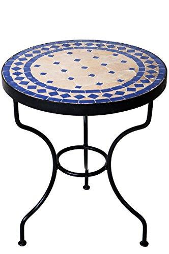 ORIGINAL Marokkanischer Mosaiktisch Beistelltisch ø 40cm rund | Runder Mosaik Gartentisch Mediterran | Handarbeit aus Marokko als Blumentisch für Balkon oder Garten | Marrakesch Natur Blau 40cm