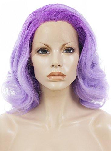 Imstyle deux tons Violet Couleur court bouclés Wavy Texture synthétique Lace Front Perruque Drag Queen Perruques