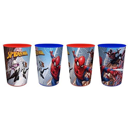 MarvelSpiderman -250 ml - Kinder Trinkbecher/Saftbecher / Zahnputzbecher/Malbecher - Becher - Trinkglas - Glas aus Kunststoff Plastik - Kinder - Spiderman - SP01