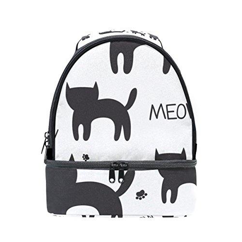 tizorax Meow Black Cat Kitten Paws Lunch Bag Isolierte Lunch Box Picknick Tasche Schule Kühltasche für Männer Frauen Kinder -