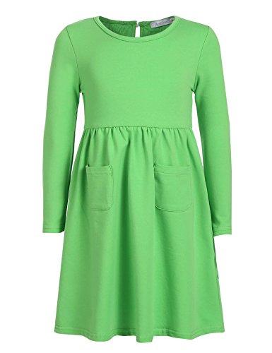 CHIGANT Mädchen Langarm T-shirt Kleid Skaterkleid Einfarbige Kleid mit Rundhals (Mädchen Lange T-shirt)