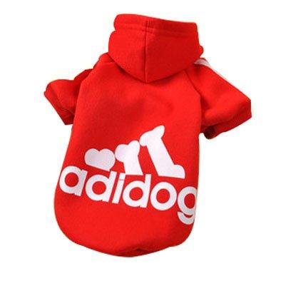 Eastlion Adidog Hund Pullover Welpen-T-Shirt Warm Pullover Mantel Pet Kleidung Bekleidung, Rot, Gr. M