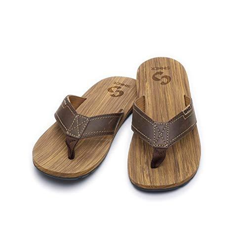 SINNER Zehentrenner für Herren - Bequeme Flip Flops mit echtem Leder Riemen - Sommer Sandalen in Braun & Schwarz - mit Hochwertiger Sohle - Braun 43