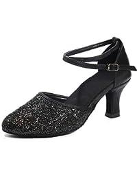 SWDZM Zapatillas de Baile para Mujer/Zapatos de Lentejuelas/Tacón 5CM/7CM Modelo ES-1802