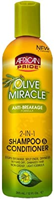 African Pride Olive Miracle 2-in-1 Shampoo 360 ml (Pack of 2)