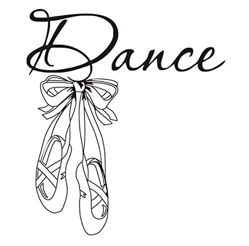 Lvabc 42X48Cm Schöne Ballett Schuhe Vinyl Wandtattoo Zitat Tanz Mädchen Zimmer Aufkleber Kunstwand Wandtattoo Für Tänzerraum