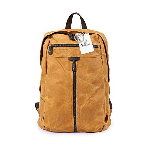 Yoome Leinwand Laptop Rucksack Wandern Reise Rucksack Unisex Vintage Leder Casual Schule College Taschen Business Daypack - Brown