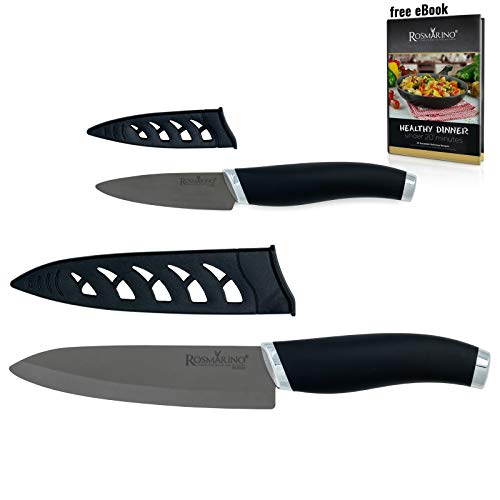 ROSMARINO Keramik Küchenmesser, Allzweckmesser, Kochmesser - Hochwertiges Ceramic Frühstuckmesser Set - Profi Ultrascharfes Messerset mit Schutzhülle (Keramik 2 Pack)