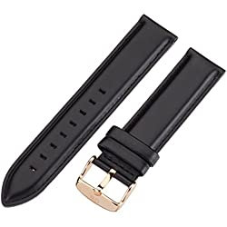 Daniel Wellington Sheffield Rose Men's Black Leather Buckle Watch Strap with Pin of 20cm 0307DW