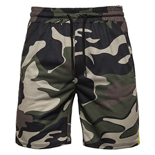 HuaMore Männer Tarnung-Art Der Baumwolle Mehrfach-Overalls Shorts Mit Tunnelzug Shorts