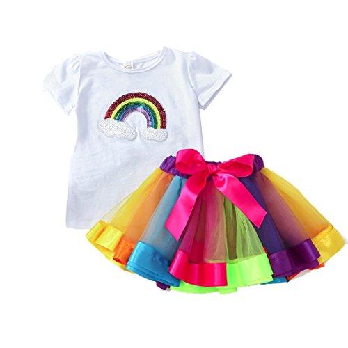Solike Mädchen Regenbogen Kostüm Set, 2 in 1 80er Mädchen Regenbogen Set Sommerkleid - Regenbogen Ballet Tutu und Tops ()
