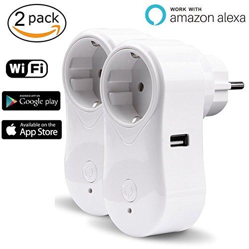 Toma inteligente Alexa WiFi iintelli unirá Conector Wifi Smart Plug Wireless Outlet con puerto USB funciona para iOS y Android Smartphones App, compatible con Amazon Echo Dot, Google Home 2200.00W, 240.00V