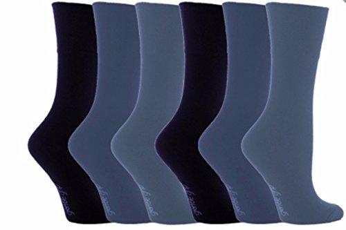 6 Pairs of Sock Shop Everyday Gentle Grip Socks Navy Mix RH16 Ladies 4-8